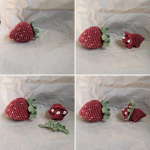 4-panel photo comic of a red plush triceratops discovering a plush strawberry and dressing up to match it